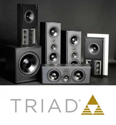 Triad speakers for home audio and home stereo