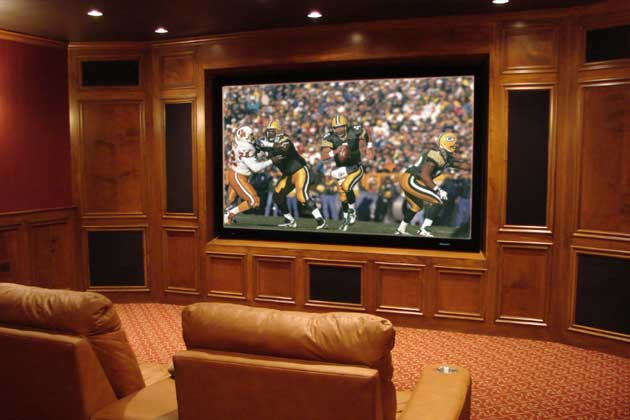 Themed Home Theater Oak Paneling